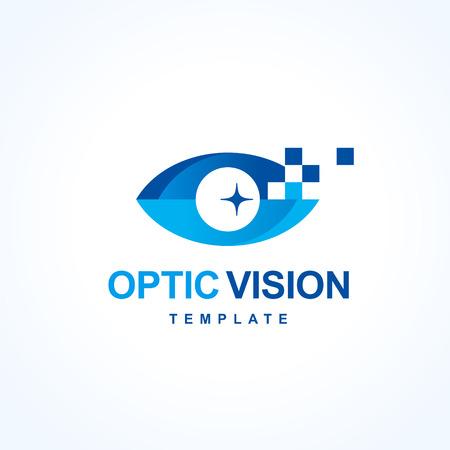óptica visual de diseño símbolo emblema, ojo símbolo silueta del vector del icono Ilustración de vector