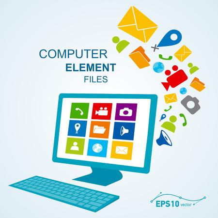 icono ordenador: icono de teclado pantalla de ordenador  vector ningún efecto