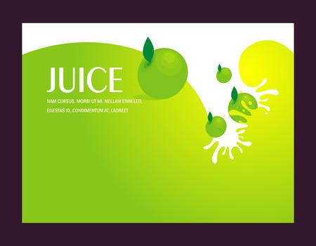 jugo de frutas: gotas de líquido de jugo de fruta de manzana salpican el fondo verde