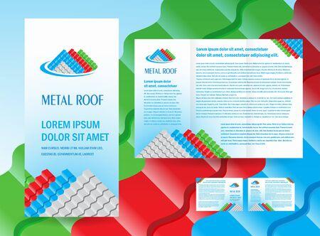 brochure folder dak metalen profiel gekleurde ontwerp vector