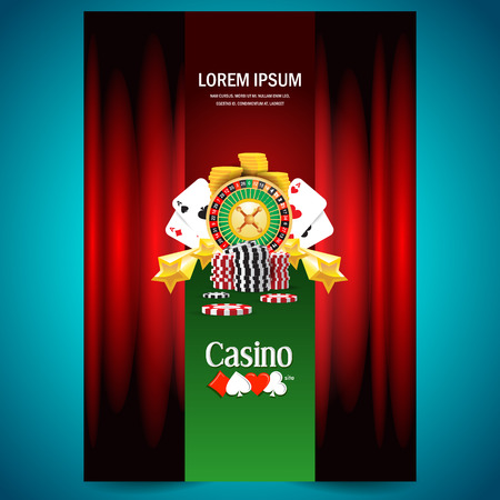 cover poster face casino european roulette money poker cards game red black green background Vectores
