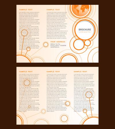 Vector Brochure Tri-fold Layout Design Template orange connect