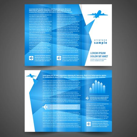 brochure airplane flight tickets air fly cloud sky blue white color travel background Vectores