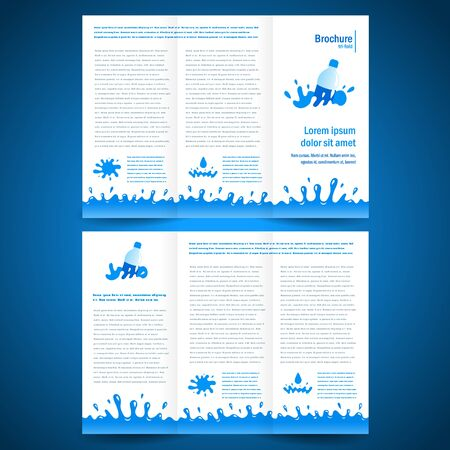 water cooler: brochure folder water aqua splash bootle element design