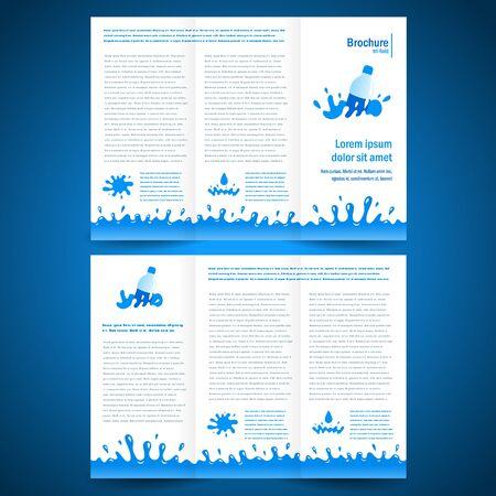 brochure folder water aqua splash bootle element design
