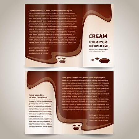 brochure folder cream element design, no transparent Иллюстрация