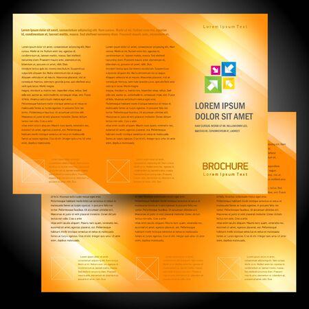 brochure folder colorful design vector orange