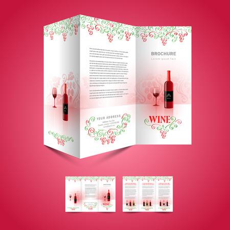 brochure design folder leaflet template wine red vine grape green ornament white background
