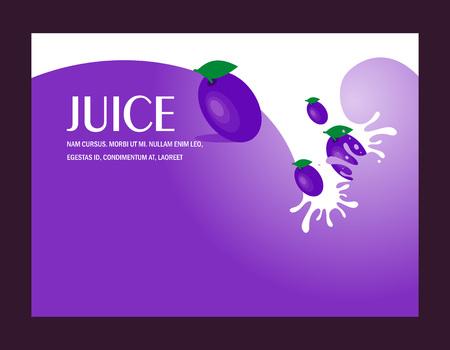 juice fruit plum liquid drops splash background Иллюстрация