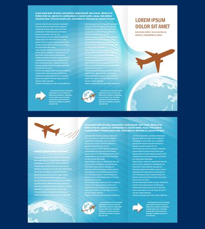 brochure airplane flight tickets air fly cloud sky blue white color travel transtortation globe background Vectores