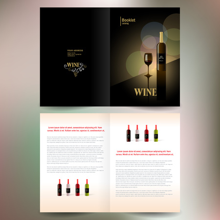 vineyards: booklet catalog brochure folder wine red vine bokeh gold black background Illustration