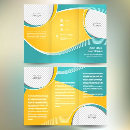 catalog: brochure folder leaflet geometric abstract element color white line yellow green background, block for images Illustration