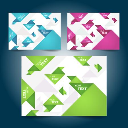creative geometric triangle origami label design element color element set