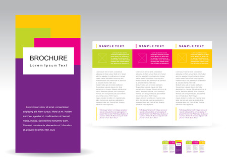 Vector Brochure Tri-fold Layout Design Template  Иллюстрация