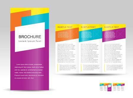 Vector brochure gevouwen lay-out ontwerpsjabloon kleurrijk. Stock Illustratie
