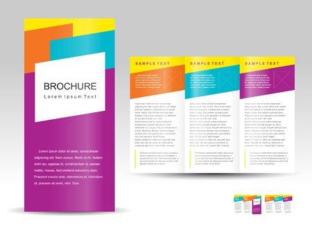 Vector brochure tri-fold layout design template colorful.