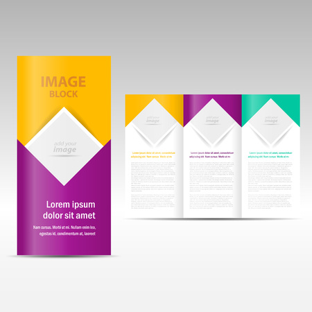 Vector Brochure gevouwen lay-out ontwerpsjabloon vierkant, blok voor afbeeldingen