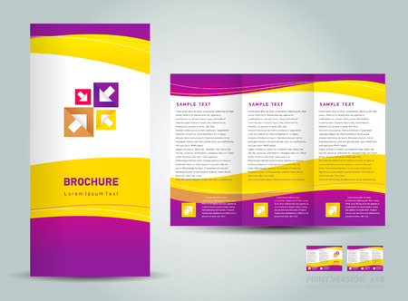 Vector brochure tri-fold layout design template yellow violet white color curves background Иллюстрация