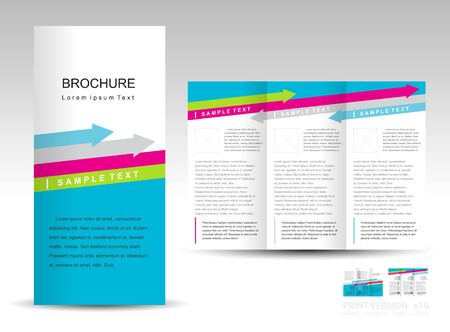 brochure design template tri-fold layout arrow colored blue