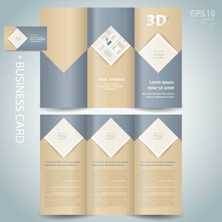 Brochure design template Tri-fold vector folder leaflet rhombus, square, block for images Vectores