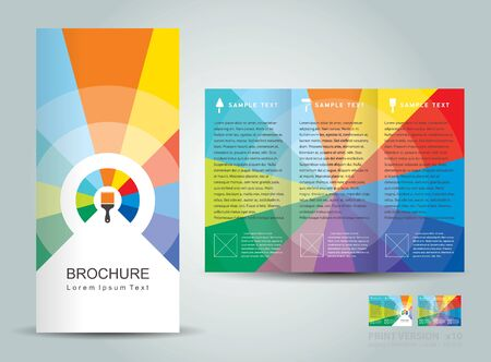 creative design vector brochure Tri-fold Layout Design Template colorful lines on vivid background paint brush
