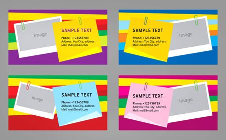 abstract creative business card stiker note template vector colorful  stripes background