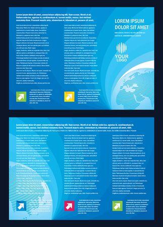 Brochure line globe color blue vector cmyk no effect