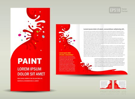Vector Brochure Tri-fold Layout Design Template paint splash