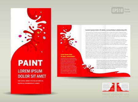 Vector Brochure Tri-fold Layout Design Template paint splash