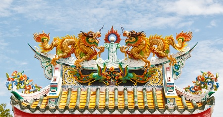 Double dragon on chinese temple roof photo