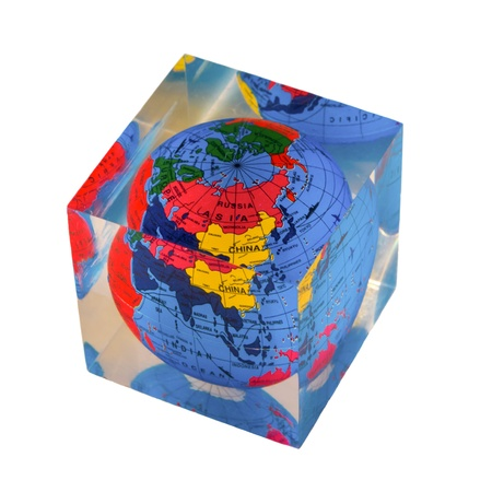firmness: Earth cube with a globe inside Stock Photo
