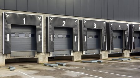 Docking station for trucks at a distribution centre