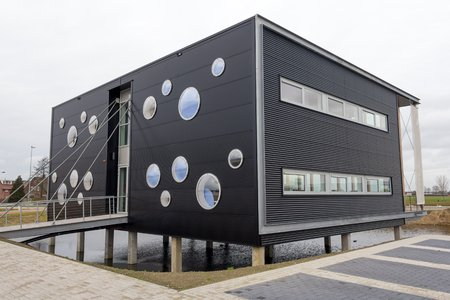 Modern office building with round windows