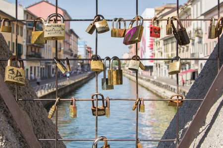 keylock: Love locks at a bridge in Milan Italy Editorial