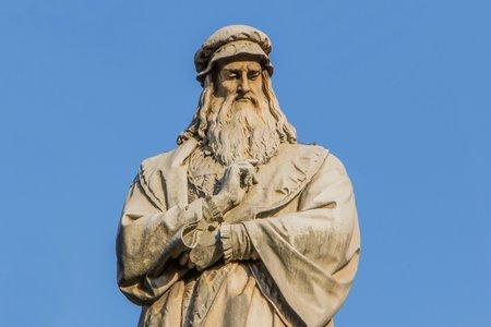 Statue of Leonardo da Vinci in Milan Italy