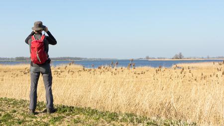 Male hiker viewing birds in wetland Foto de archivo