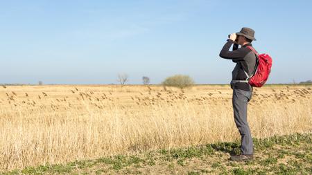 birdwatcher: Male hiker viewing birds in wetland Stock Photo