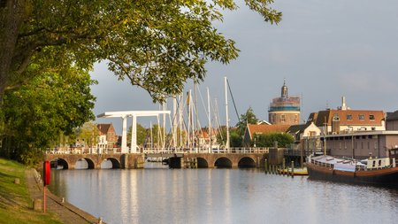 Entrance of the old habor of Enkhuizen; an old fishermanstown in the north of the Netherlands photo