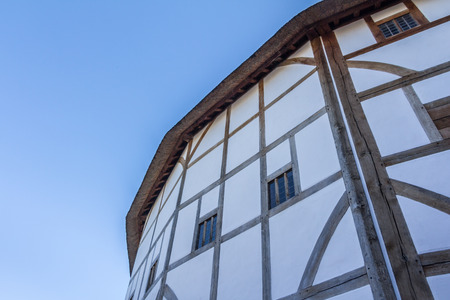Outside view of the Shakespeare  globe theatre in London United Kingdom