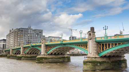 southwark: Southwark Bridge over the River Thames in London Stock Photo