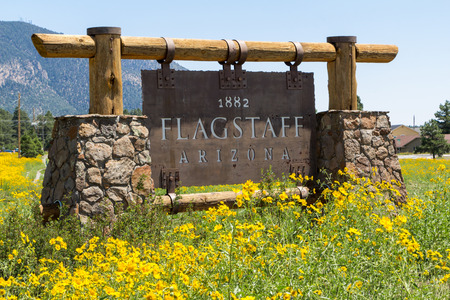 Entering sign Flagstaff in a mountain landscape with yellow flowers