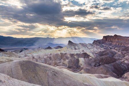 Zabriskie point during sunset in Death Valley NP US photo