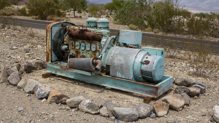 Rusty machines near a gas station in Panamint Springs California US photo
