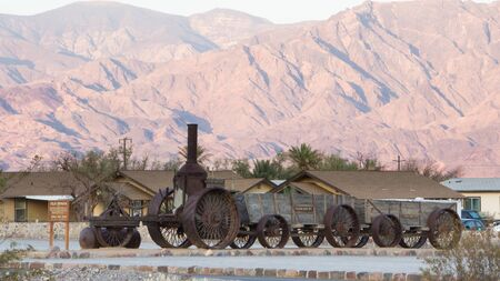 mule train: Historic locomotive and wagons in Death Valley National Park