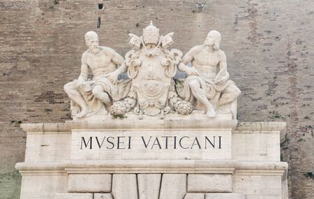 Entance Vatican Museum in Vatican City in Rome, which displays  the art collection from the Roman Catholic Church