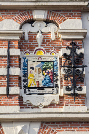 enkhuizen: Dutch govenrmental building in Renaissance style with a colorfull plaque in Enkhuizen, designed by architect Hendrick de Keyser