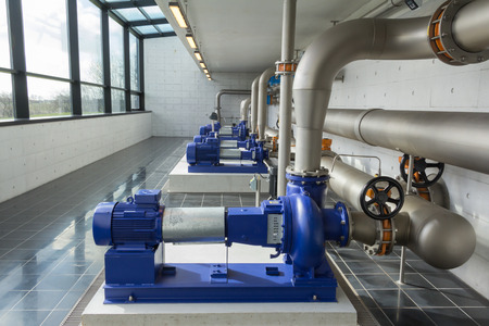 Modern water pumps in a water plant station in Denmark