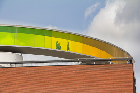 Exterior of the ARoS Art Museum; the main art museum in Aarhus in Denmark; on the roof you can walk around in the rainbow panorama with views of the surrounding city.