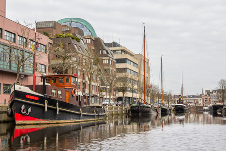 keel: View from a boat on the centre of Leeuwarden a city in the Friesland region in the Netherlands