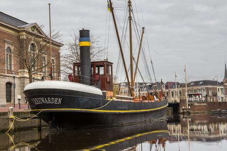 leeuwarden: Old steamship in the centre of Leeuwarden a city in the Friesland region in the Netherlands